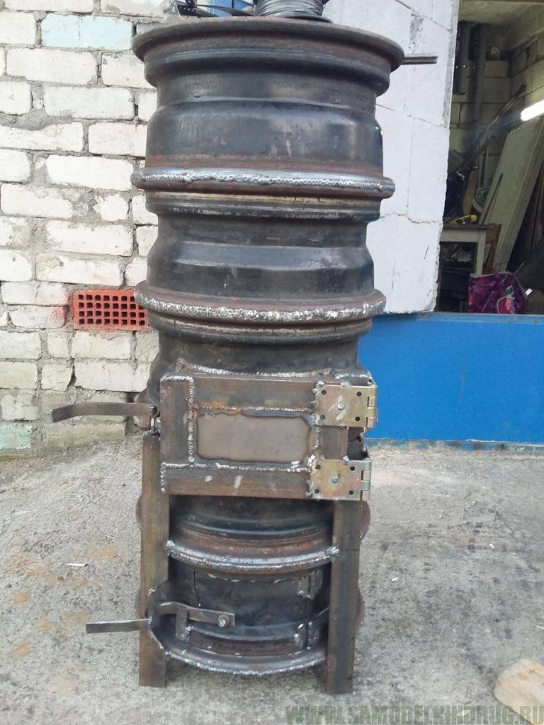Печка из автомобильных дисков своими руками: для казана, бани и барбекю - как сделать из старых колес +фото и видео