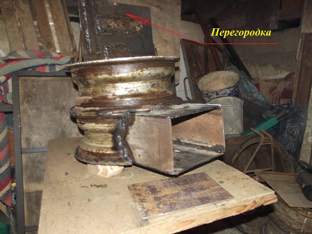 Самодельная печь из колесных дисков для бани