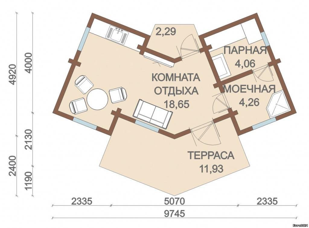 Угловые бани: функциональные проекты