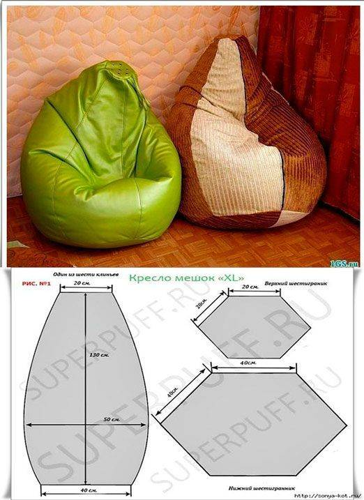 Как сшить кресло мешок своими руками: пошаговая инструкция, выкройка