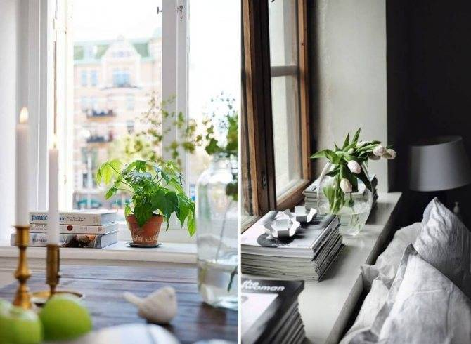 12 идей для декора подоконника комнатными цветами