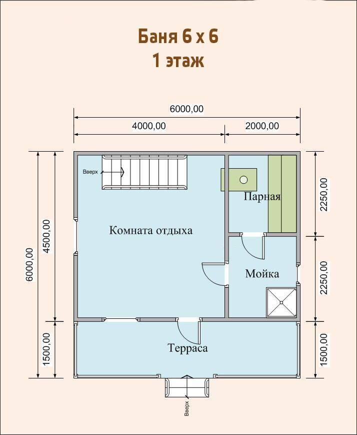 Проект бани размером 6х6 м