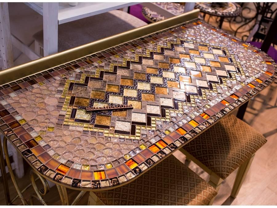 Столешницы из деревянной мозаики: фото