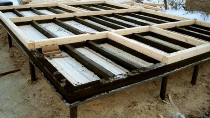 Пол в бане на винтовых сваях: устройство, как сделать его фундамент, утеплить, как построить проливной пол в бане на столбчатом фундаменте