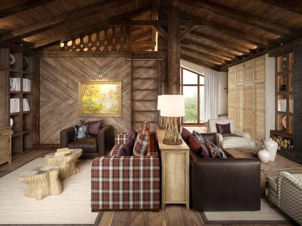 Интерьер в стиле шале в квартире и доме: спальня, гостиная, кухня, мебель