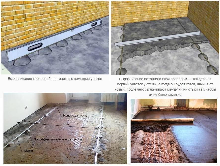 Бетонный пол по грунту в частном доме (30 фото): плюсы, минусы и устройство заливки поверхности бетоном, как залить и сделать стяжку