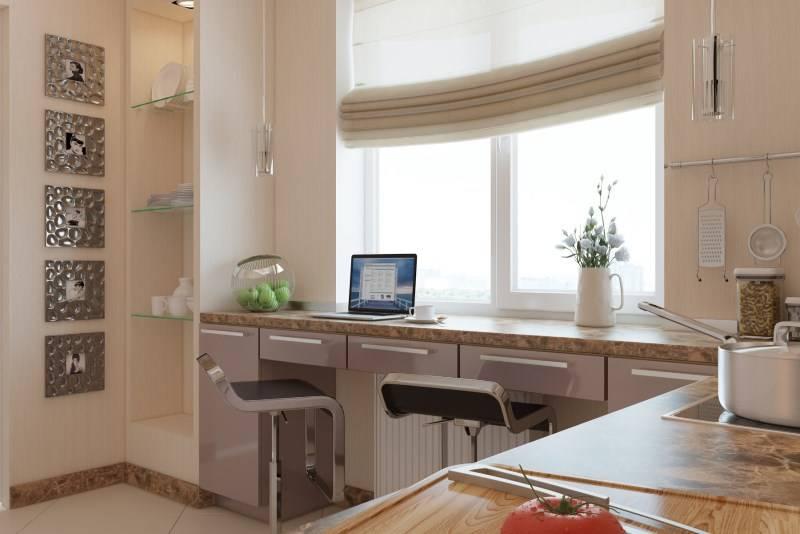 Стол-подоконник на кухне: выбор формы, материала и дизайна