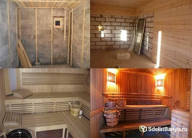 Отделка бани (74 фото): внутренняя отделка своими руками, чем обшить внутри, чем обшивают конструкции из пеноблока