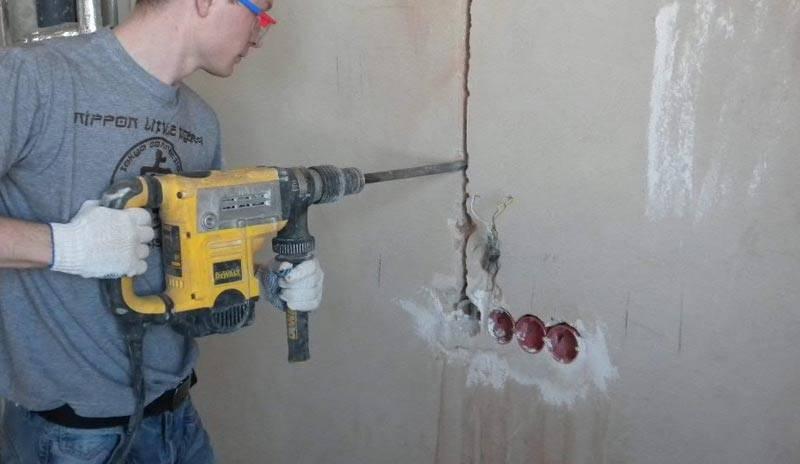 Штробление бетонных стен: способы, инструменты, пошаговая инструкция