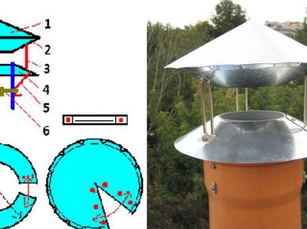 Колпак на трубу дымохода: установка и монтаж элемента своими руками + фото чертежей