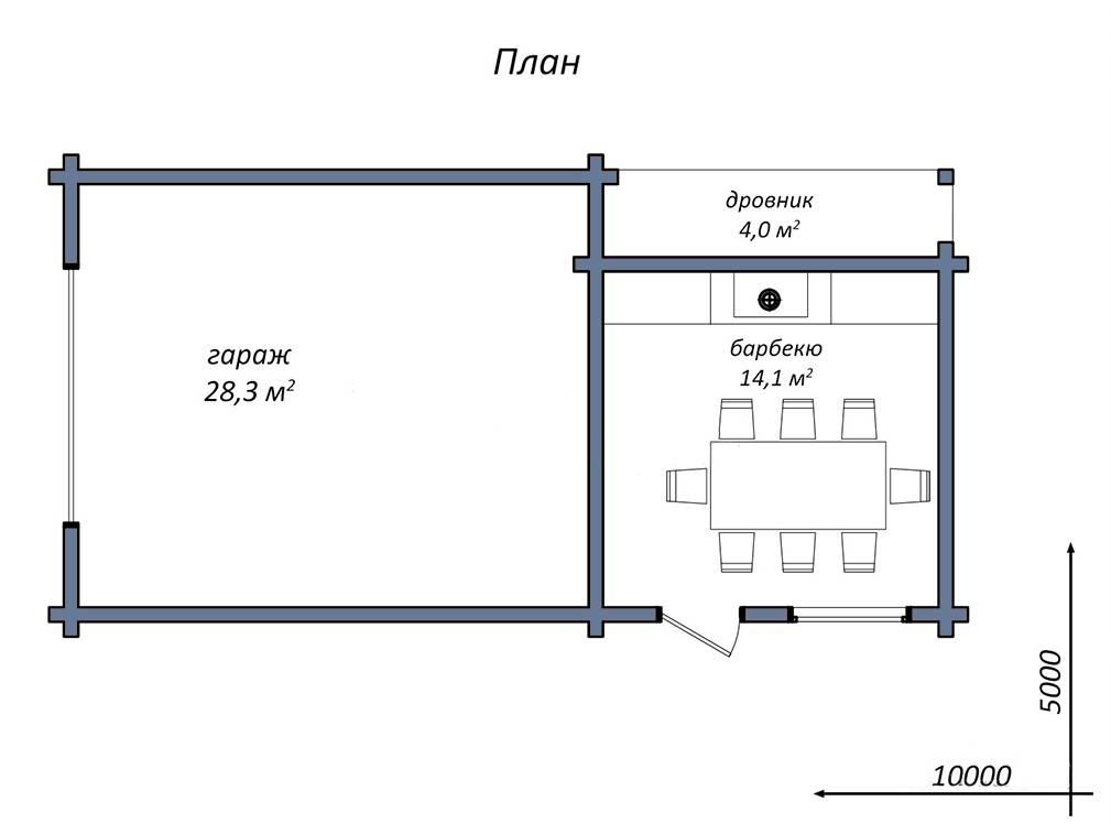 Баня с летней кухней и террасой - проекты и обзор