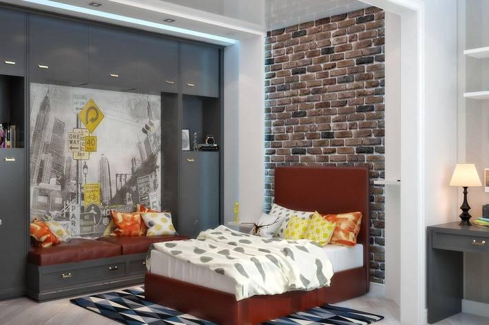 Комната для мальчика с кирпичной стеной: лофт для сильного пола