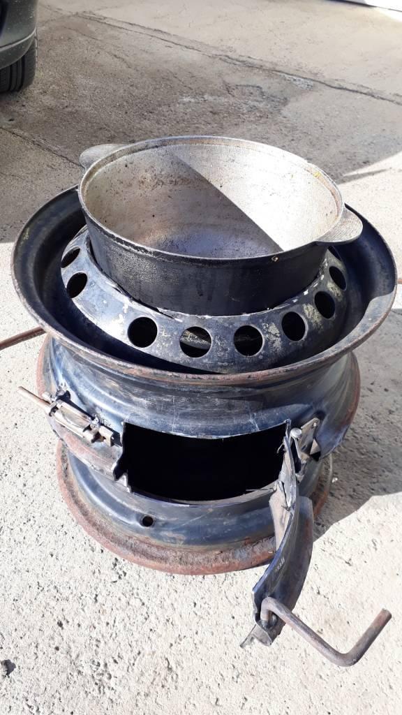 Печь для казана из дисков своими руками: схема и инструкция по изготовлению