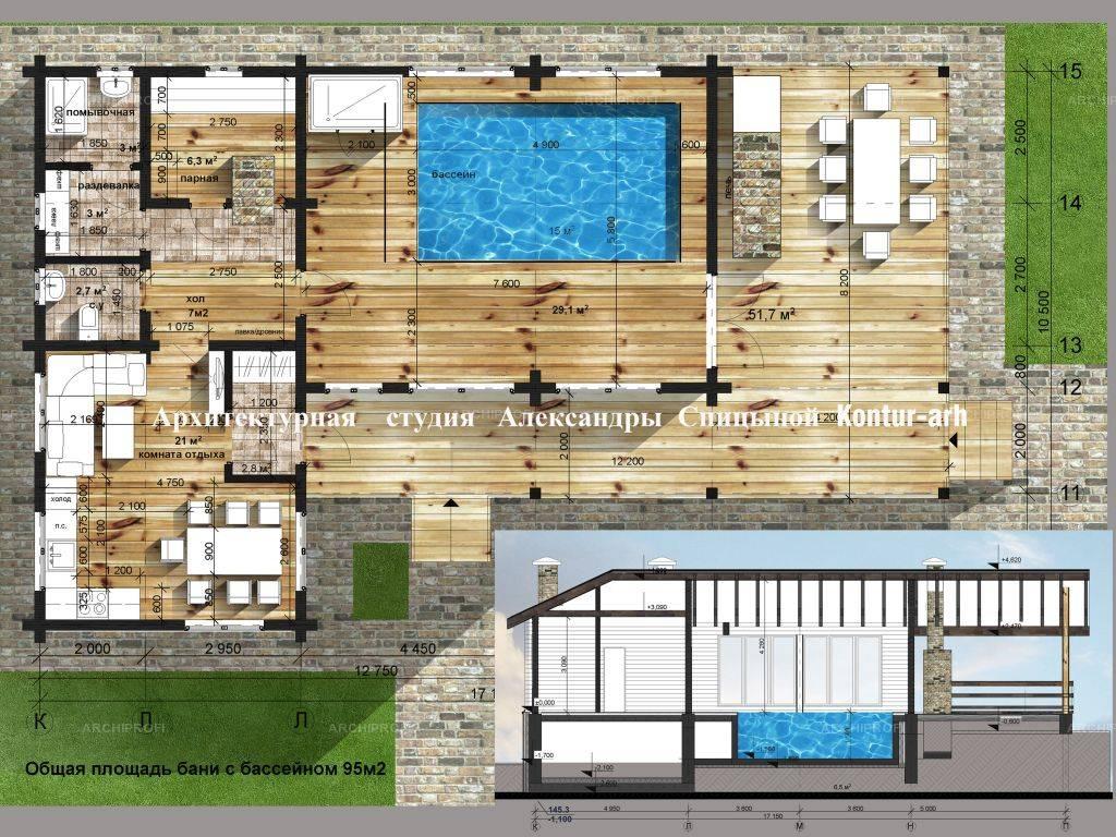 Идеальный проект банного комплекса с бассейном
