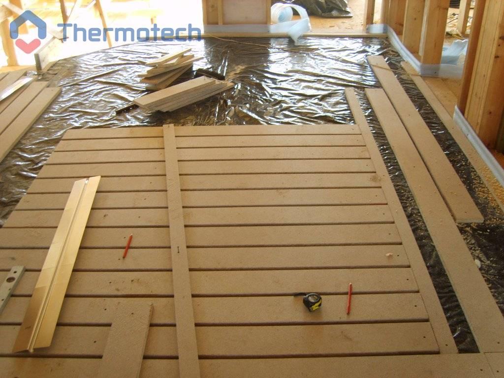 Технология монтажа деревянной системы водяного пола