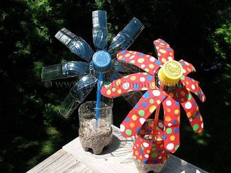 Что можно сделать из пластиковых бутылок: ✅ пальма и цветы, вертушка и павлин
