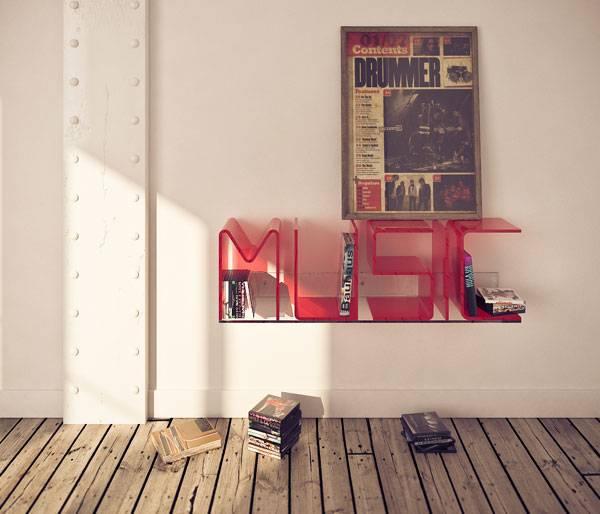 Книжные полки в виде букв: оригинальные решения для литературы