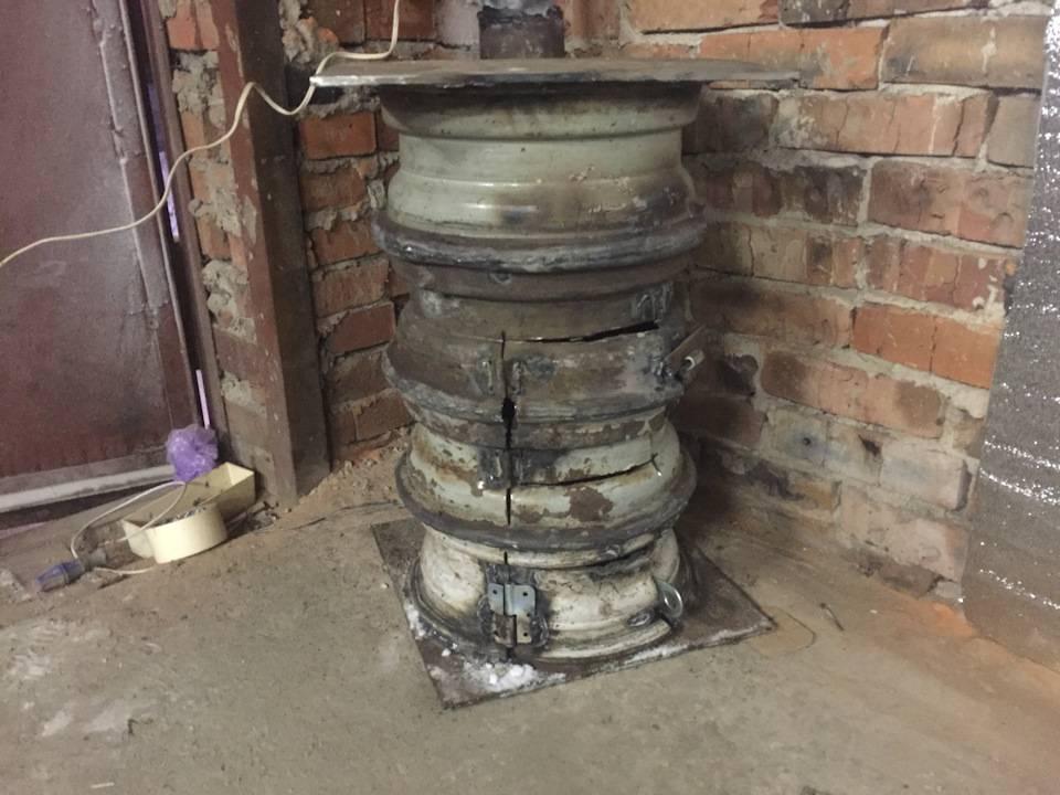 Печка из автомобильных колесных дисков своими руками