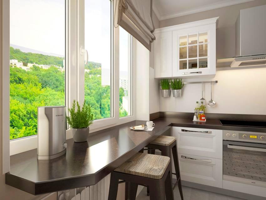Подоконник-столешница на кухне (58 фото): стол переходящий в подоконник, как сделать совмещенный вариант вместо стола в «хрущевке»