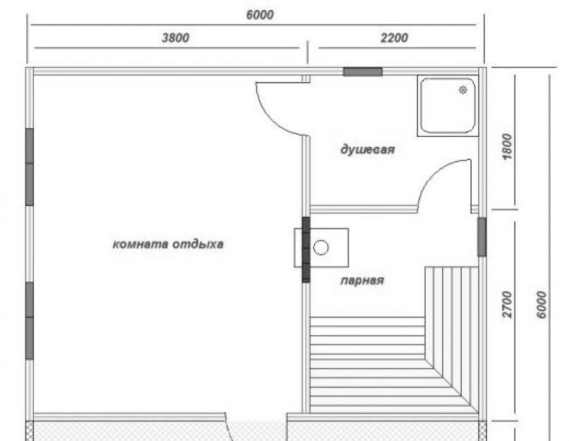 Баня 3 на 3 - планировка внутри и снаружи: фото с парилкой и мойкой