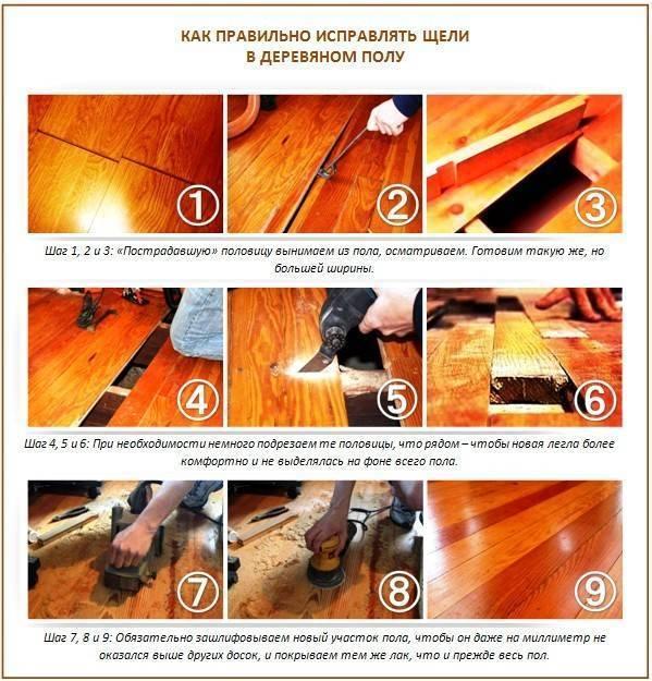 Заделка щелей в деревянном полу — чем и как проводить ремонтные работы?