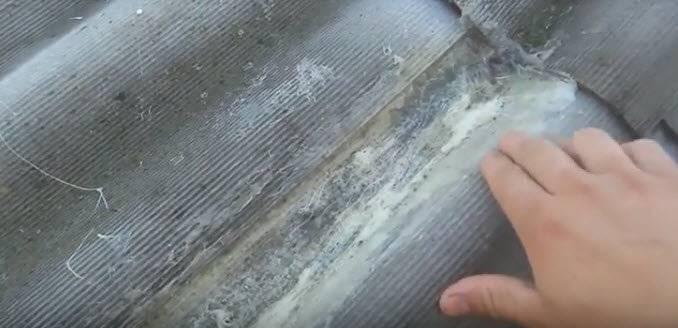 Чем заделать дыру в шифере: на крыше, снаружи, возле трубы, видео, изнутри, от гвоздей, зимой