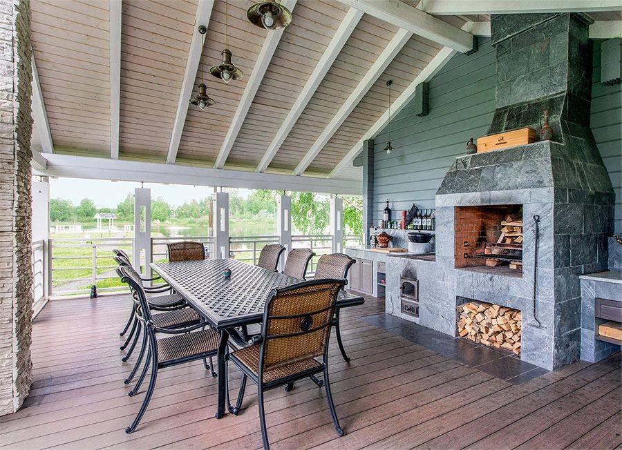 Проекты бань с верандой и барбекю из бревна под одной крышей