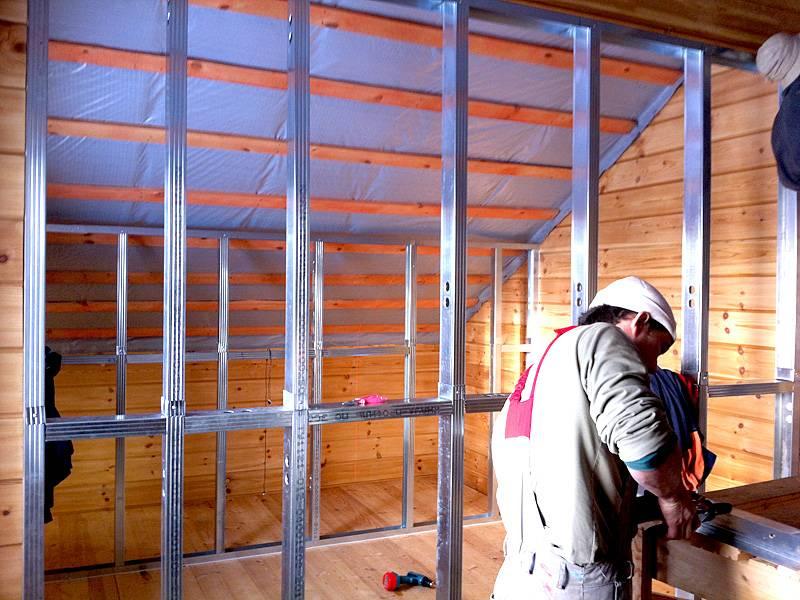 Обшивка бревенчатых стен гипсокартоном: обзор монтажной технологии
