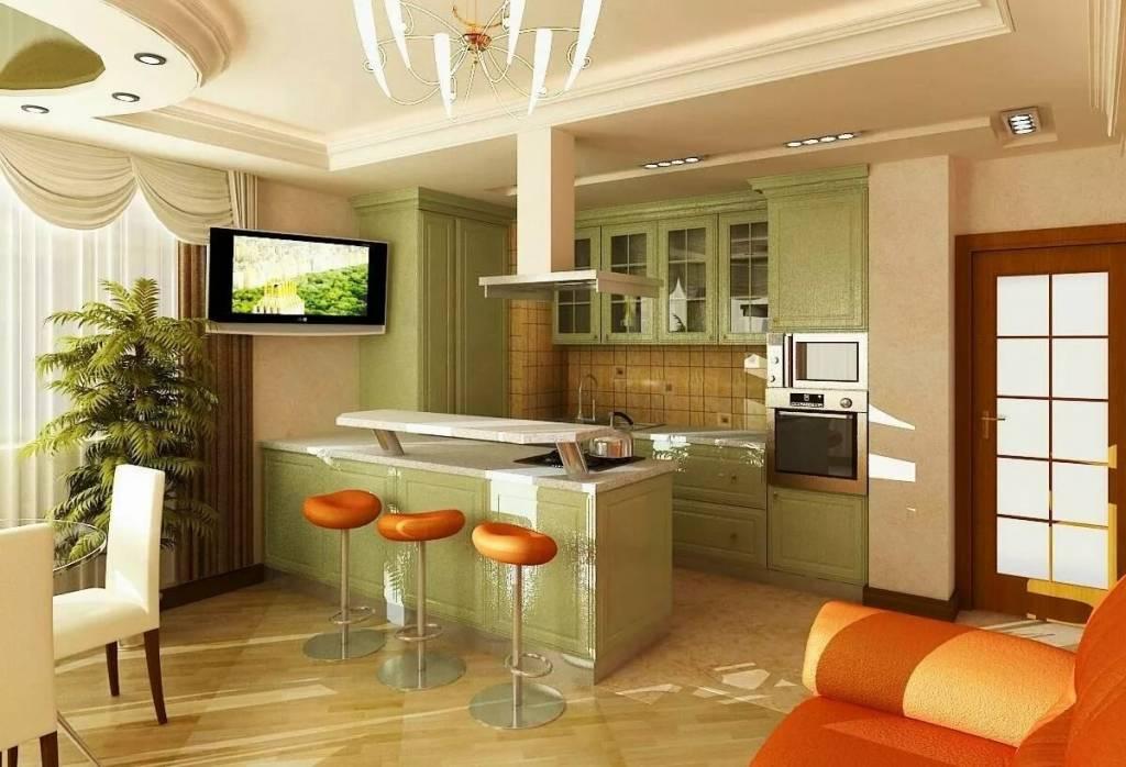 Способы планировки гостиной, объединенной с кухней