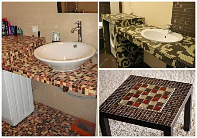 Столешница из мозаики в ванной: фото, как сделать