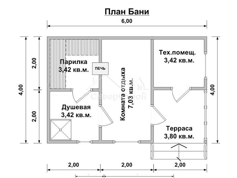 Примеры планировок бань с комнатой отдыха