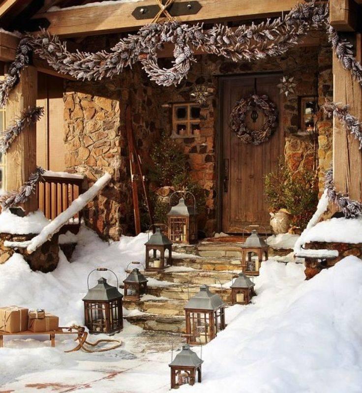 Как украсить двор к новому году | строительство бани