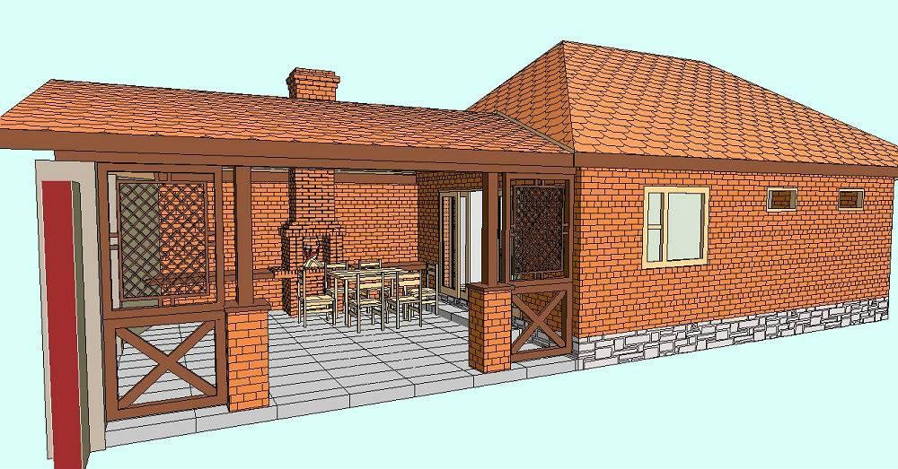 Технология строительства бани с большой кирпичной печью-барбекю