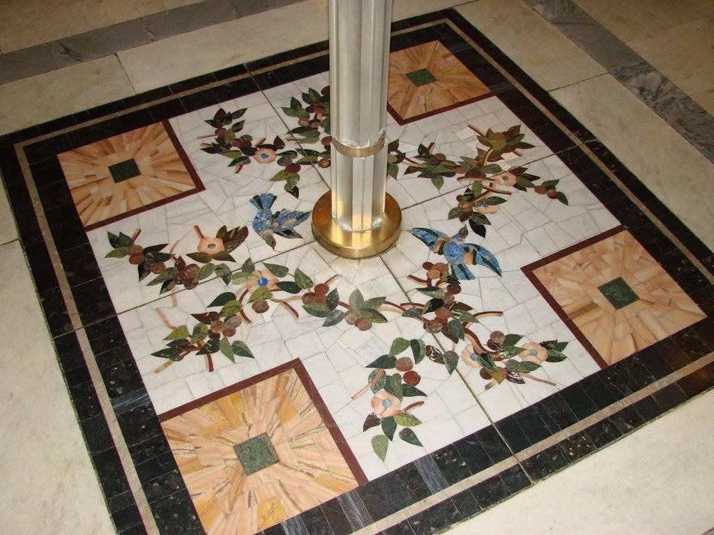 Напольная мозаика: мозаичный пол из мраморной крошки, керамическая и стеклянная плитка, покрытие из мозаики-керамогранита