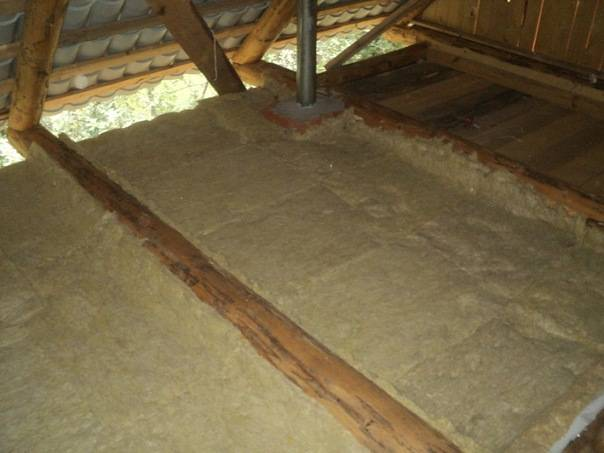 Процесс утепления потолка в бане