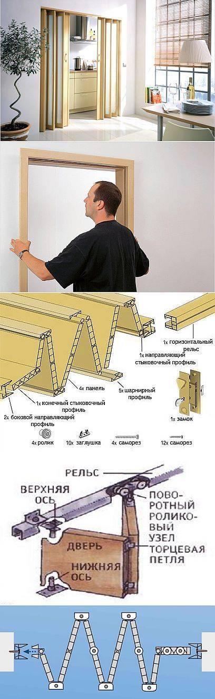 ᐉ дверь гармошка - установка складывающейся модели, механизмы, видео
