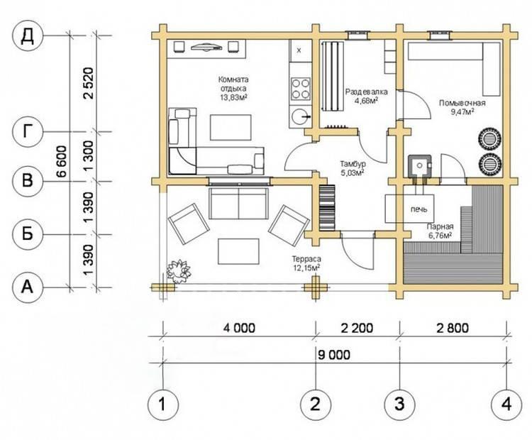 Проекты бань из бруса (115 фото): чертежи дома с террасой из профилированного и клееного бруса