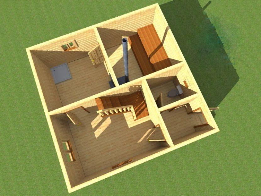 Баня 6 на 6 из бруса с мансардой: проекты, особенности постройки и фото   построить баню ру