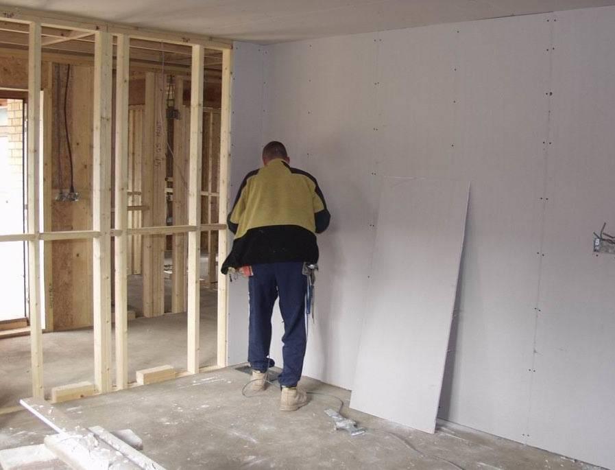 Как делают стены из гипсокартона в деревянном доме