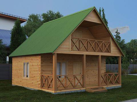 Как построить баню с мансардой и верандой?