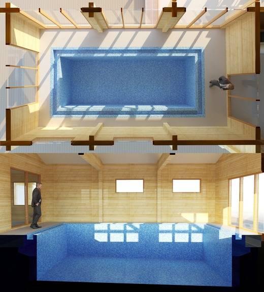 Интересные решения: проекты бани сбассейном