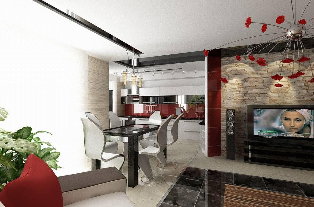 Зонирование кухни и гостиной: оригинальные решения, как отделить перегородкой - стеклянной, раздвижной, из гипсокартона  - 31 фото