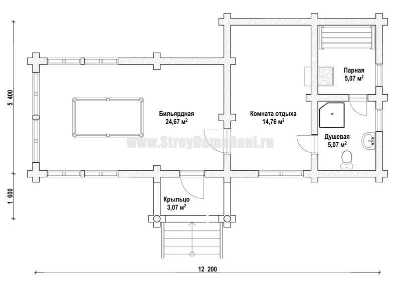 Проекты бань одноэтажные с бильярдной