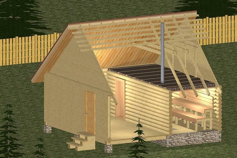 Какой может быть баня с верандой/террасой/беседкой под одной крышей