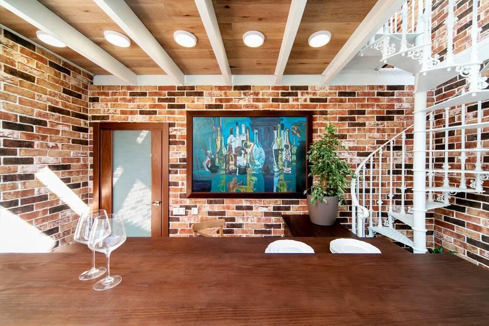 Стены в стиле лофт: кирпичная кладка своими руками, отделка и декор, оформление росписью, картинами и надписями, часами или светильниками, фото с примерами