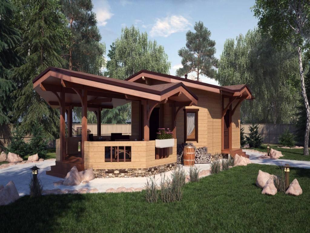 Проект бани с террасой и барбекю: фото вариантов постройки