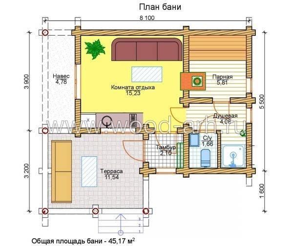 Проекты одноэтажных бань: преимущества, фото, идеи