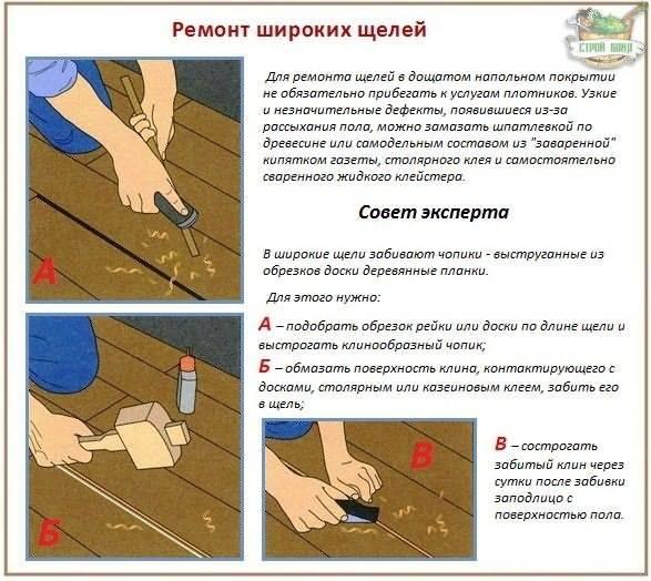 Заделка щелей в деревянном полу - как и чем лучше проводить ремонт