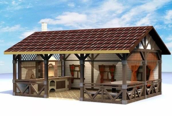 Проекты бань с беседкой под одной крышей