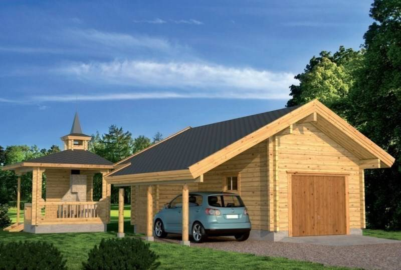 Варианты строительства гаража и бани под одной крышей